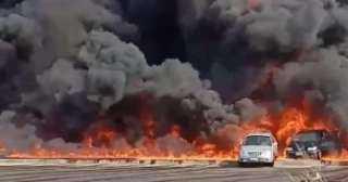 فيديو.. موقع حريق ماسورة بترول بطريق الإسماعيلية الصحراوى